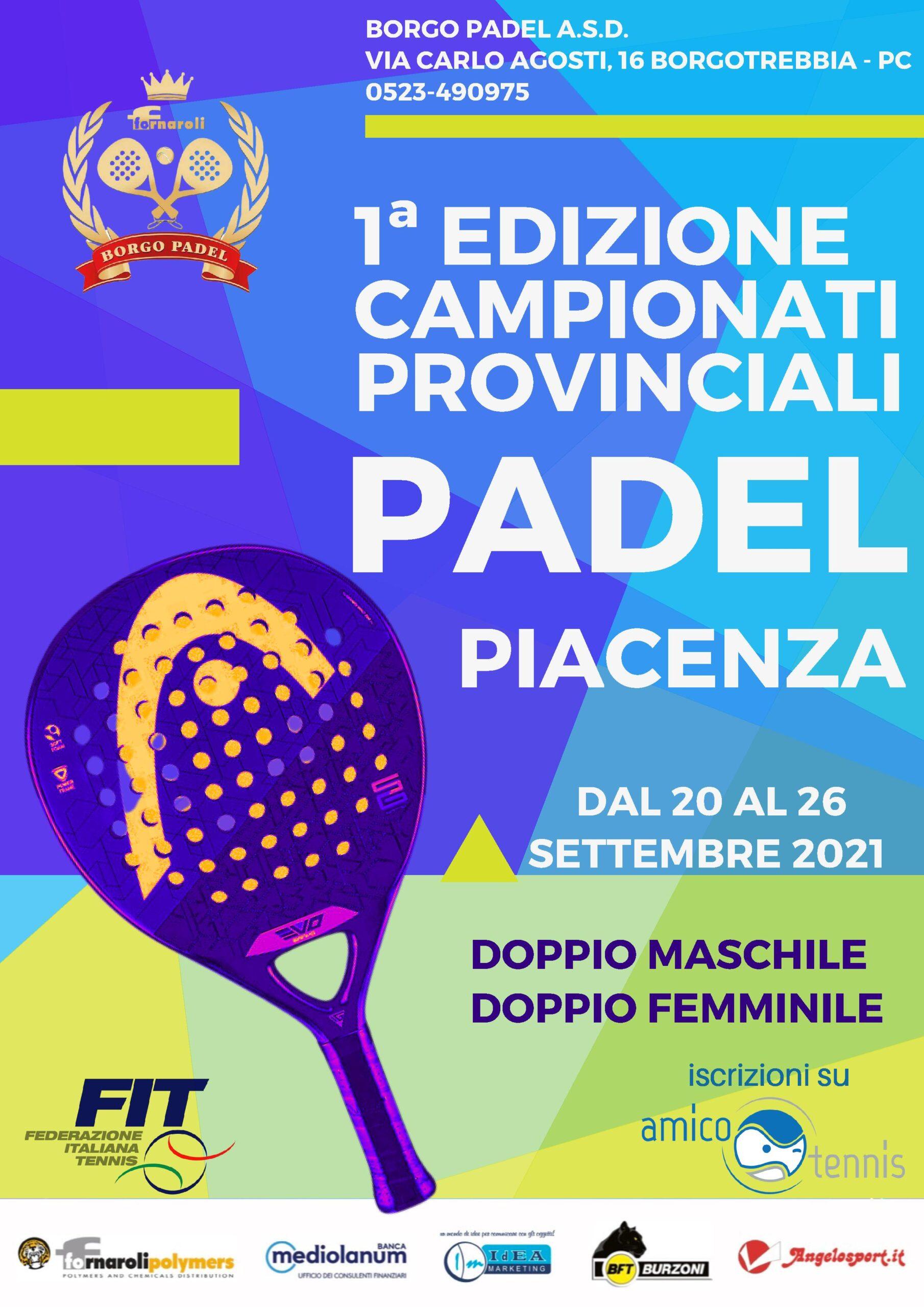 Padel Prima Edizione Campionati Provinciali